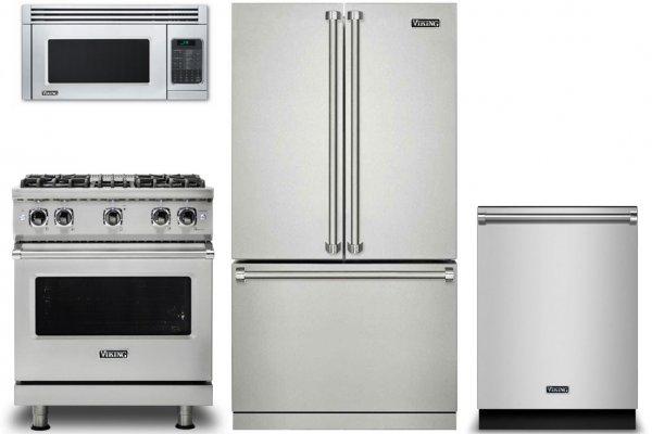 "Large image of Viking 3 Series 36"" Stainless Steel French-Door Bottom Freezer Refrigerator Kitchen Package - VIKIPACK10"