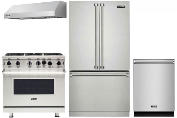 "Large image of Viking 36"" Professional 3 Series Stainless Steel French-Door Bottom Freezer Refrigerator Package - VIKIPACK11"