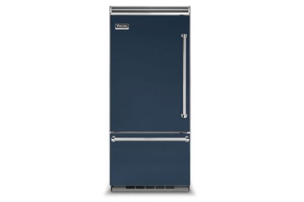 "Large image of Viking Quiet Cool 5 Series 36"" Slate Blue Left-Hinge Built-In Bottom-Freezer Refrigerator - VCBB5363ELSB"