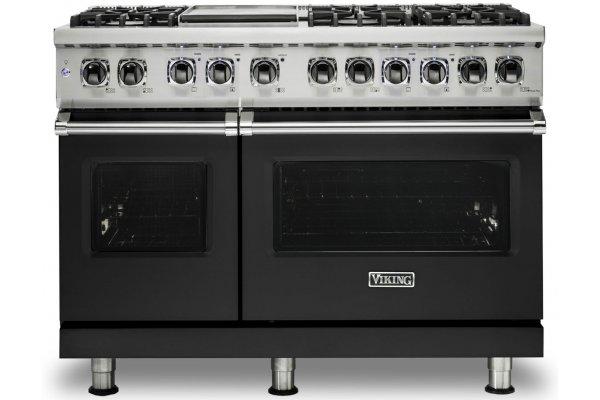 "Large image of Viking 5 Series 48"" Cast Black Dual Fuel Range - VDR5486GCS"
