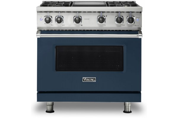 "Large image of Viking Professional 5 Series 36"" Slate Blue Natural Gas Range - VGR5364GSB"