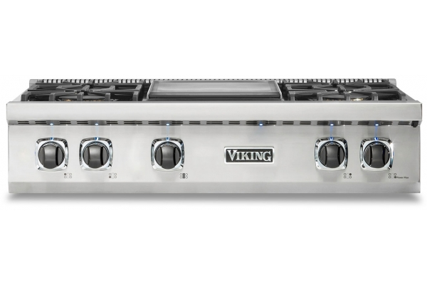 "Large image of Viking 5 Series 36"" Stainless Steel Natural Gas Rangetop With Griddle - VRT5364GSS"