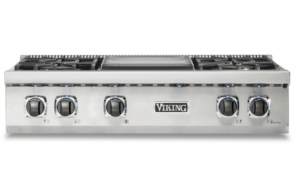 "Large image of Viking 5 Series 36"" Stainless Steel Liquid Propane Gas Rangetop With Griddle - VRT5364GSSLP"