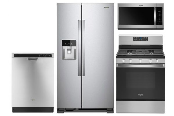 Large image of Whirlpool Stainless Side-By-Side Refrigerator & Gas Range Package - WHIRPACK28