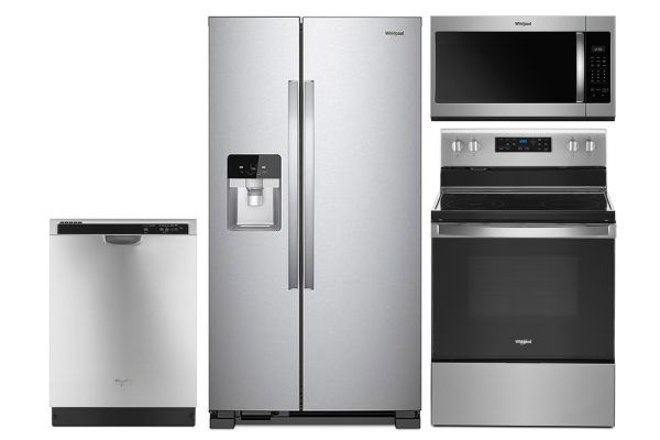 Large image of Whirlpool Stainless Side-By-Side Refrigerator & Electric Range Package - WHIRPACK31