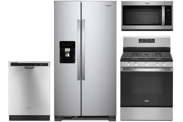 Large image of Whirlpool Stainless Steel Side-By-Side Refrigerator with Gas Range Appliance Package - WHIRPACK34