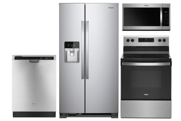 Large image of Whirlpool Side-By-Side Refrigerator & Electric Range Kitchen Package - WHIRPACK35