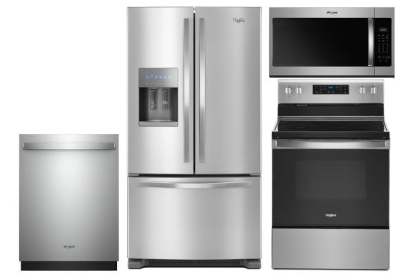 Large image of Whirlpool French Door Refrigerator and Electric Range Kitchen Package - WHIRPACK38