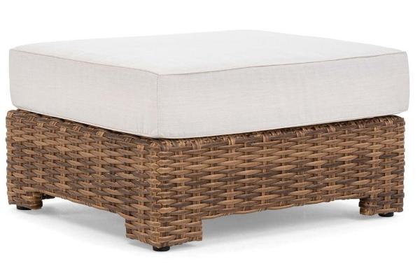 Large image of Winston Furniture Nico Cast Pumice Antique Chestnut Weave Ottoman - HQ70008