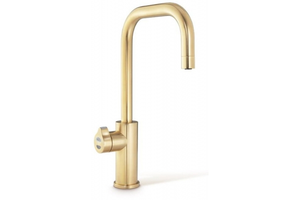 Large image of Zip Water HydroTap Cube For Home Brushed Gold Chilled And Sparkling Water Faucet - 01038396