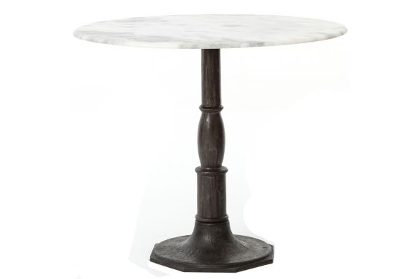 Large image of Four Hands White Marble Lucy Bistro Table - IRCK-049-CBW