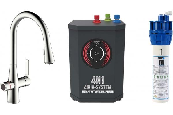 Large image of BTI Aqua-Solutions 4N1 Aqua-System Plus With Brushed Nickel Filtration Faucet - 4N1ASPLUS-BN
