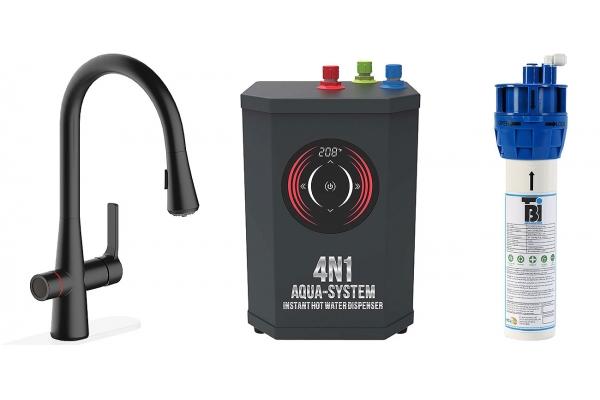 Large image of BTI Aqua-Solutions 4N1 Aqua-System Plus With Matte Black Filtration Faucet - 4N1ASPLUS-MB
