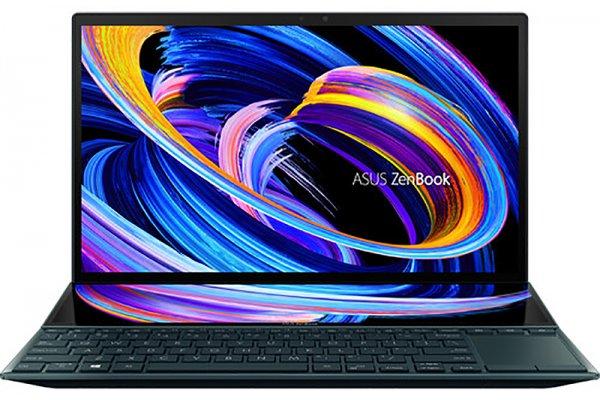 "Large image of Asus ZenBook Duo 14 Celestial Blue 14"" Gaming Laptop Intel i7-1165G7 16GB RAM 1TB SSD, NVIDIA GeForce MX450 Graphics - UX482EG-XS74T"