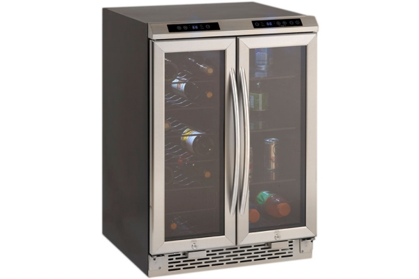 """Large image of Avanti 24"""" Stainless Frame Side-By-Side Dual Zone Wine/Beverage Cooler - WBV19DZ"""