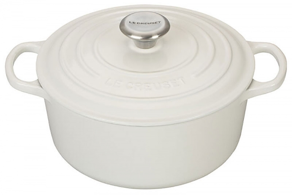 Large image of Le Creuset 4.5 Qt. White Round Dutch Oven - LS2501-2416SS