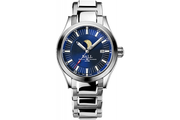 Large image of Ball Engineer II Moon Phase Blue Dial Stainless Steel Watch, 41mm - NM2282CSJBE