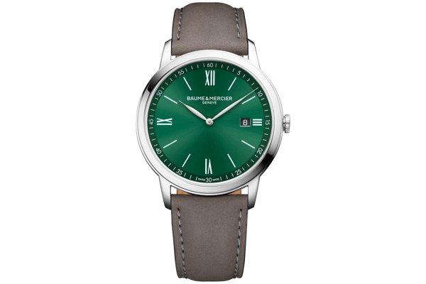 Large image of Baume & Mercier Classima Green Dial Calfskin Watch, 42mm - MOA10607