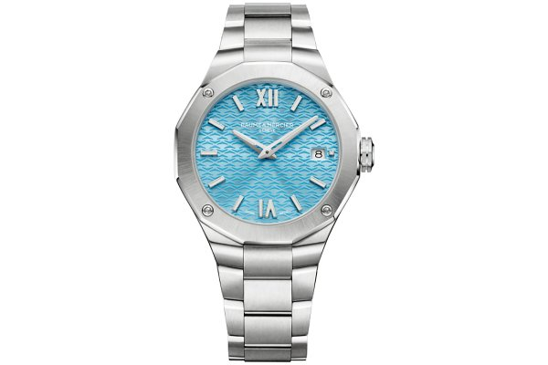 Large image of Baume & Mercier Riviera Blue Dial Polished Steel Watch, 36mm - MOA10612