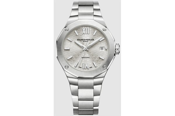Large image of Baume & Mercier Riviera Silver Dial Polished Steel Watch, 36mm - MOA10615