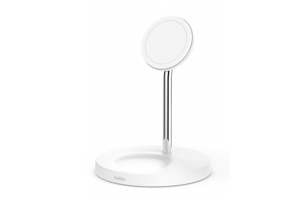 Large image of Belkin BOOST UP CHARGE PRO White 2-in-1 Wireless Charger Stand w/ MagSafe - WIZ010TTWH