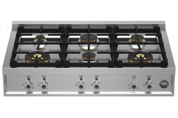 """Large image of Bertazzoni 36"""" Professional Series Stainless Steel Gas Cooktop With 6 Brass Burners - PROF366RTBXT"""