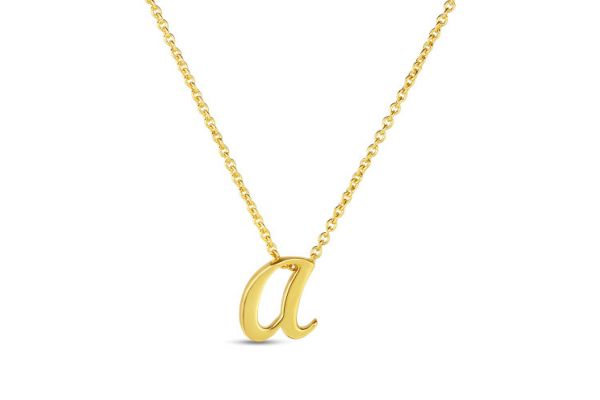 Large image of Roberto Coin 18K Small Script Initial 'A' Pendant - 000021AYCH0A