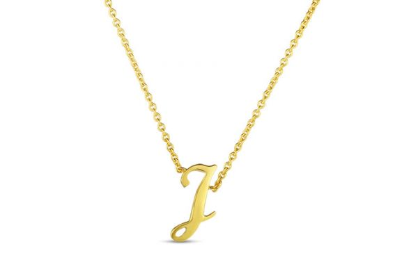 Large image of Roberto Coin 18K Small Script Initial 'J' Pendant - 000021AYCH0J