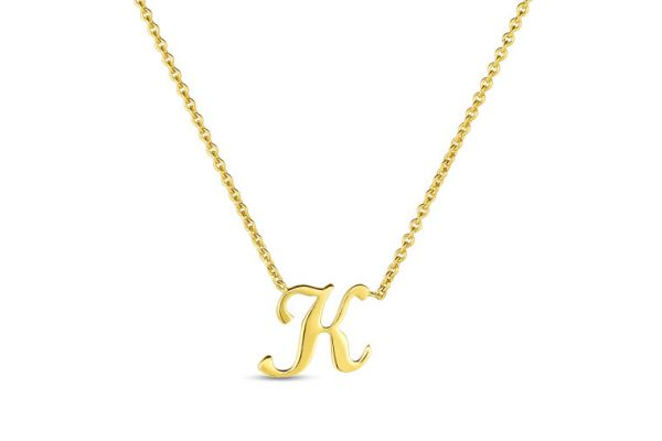 Large image of Roberto Coin 18K Small Script Initial 'K' Pendant - 000021AYCH0K