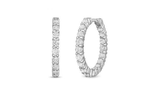 Large image of Roberto Coin 18K White Gold Small Inside Outside Diamond Hoop Earrings - 000569AWERX0