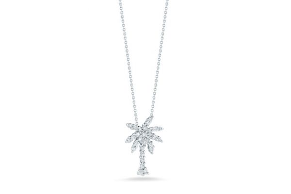 Large image of Roberto Coin 18K White Gold Small Palm Tree Pendant With Diamonds - 001236AWCHX0