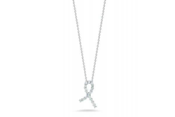 Large image of Roberto Coin 18K White Gold Hope Ribbon Pendant With Diamonds - 001251AWCHX0