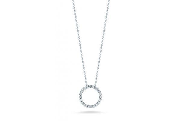 Large image of Roberto Coin 18K White Gold Circle Pendant With Diamonds - 001258AWCHX0