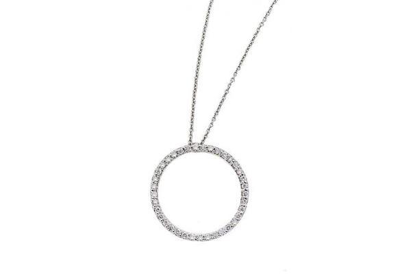 Large image of Roberto Coin 18K White Gold Small Diamond Circle Pendant - 001259AWCHX0
