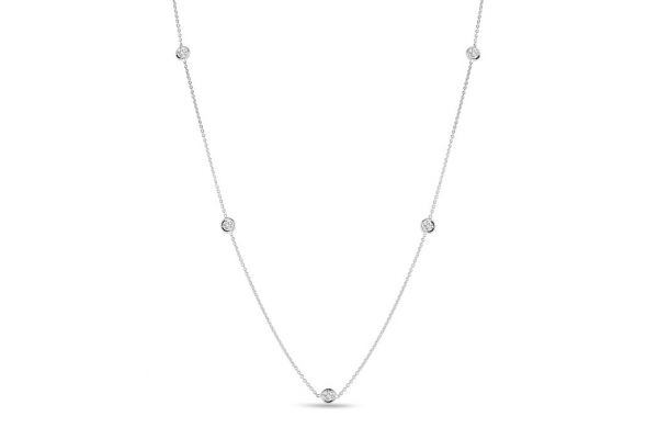 Roberto Coin 18K White Gold 5 Diamond Station Necklace - 001316AWCHD0