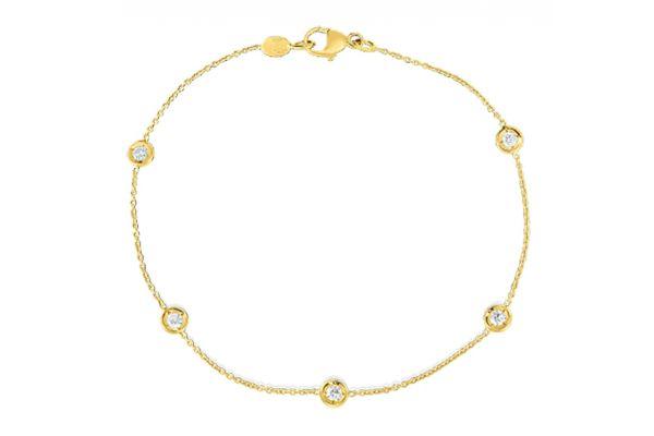 Large image of Roberto Coin 18k Yellow Gold DBI Five Bezel Set Diamond Bracelet - 001316AYLBDO