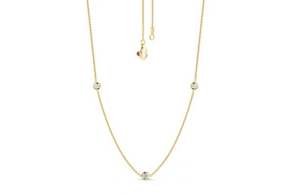 Large image of Roberto Coin 18K Gold 3 Diamond Station Necklace - 001317AYCHD0