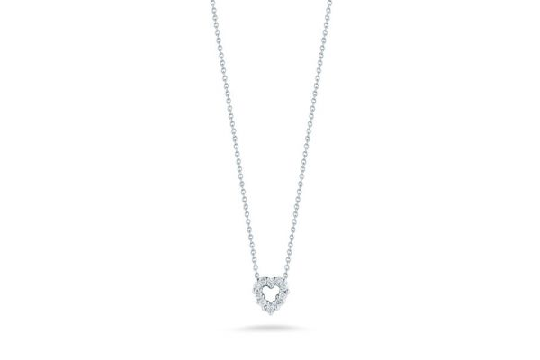 Roberto Coin 18KT White Gold Heart Pendant With Diamonds Necklace - 001616AWCHX0
