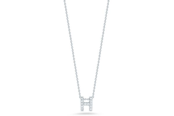 Large image of Roberto Coin 18K Love Letter 'H' Pendant With Diamonds - 001634AWCHXH