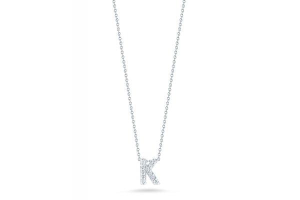 Large image of Roberto Coin 18K Love Letter 'K' Pendant With Diamonds - 001634AWCHXK