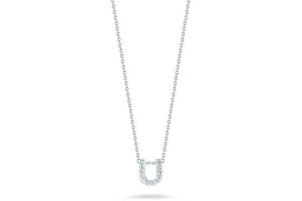 Large image of Roberto Coin 18K Love Letter 'U' Pendant With Diamonds - 001634AWCHXU