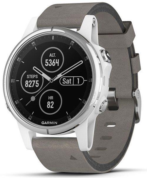 724a4b19ccd6ec Garmin 42mm Fenix 5S Plus Sapphire, White With Gray Suede Band GPS  Multisport Smartwatch - 010-01987-04