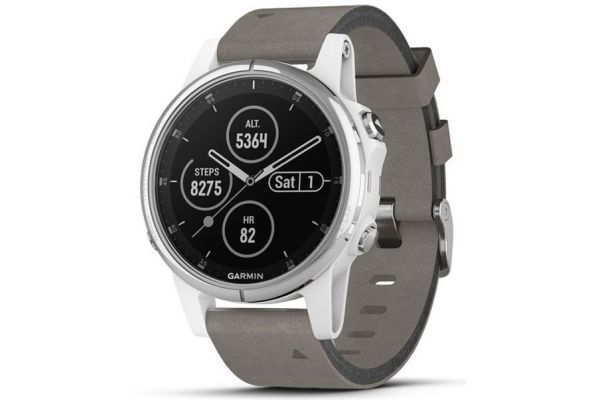 Garmin 42mm Fenix 5S Plus Sapphire, White With Grey Suede Band GPS Multisport Smartwatch - 010-01987-04