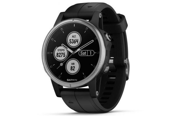 Garmin 42mm Fenix 5S Plus Silver With Black Band GPS Multisport Smartwatch - 010-01987-20