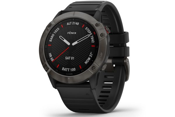 Large image of Garmin Fenix 6X Sapphire Carbon Gray DLC With Black Band GPS Multisport Smartwatch - 010-02157-10