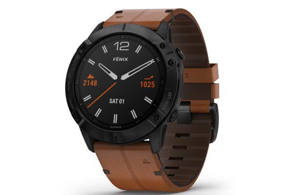 Large image of Garmin Fenix 6X Sapphire Black DLC With Chestnut Leather Band GPS Multisport Smartwatch - 010-02157-13