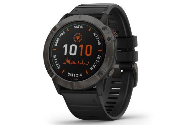 Garmin Fenix 6X Pro Solar Titanium Carbon Gray DLC with Black Band GPS Multisport Smartwatch - 010-02157-20