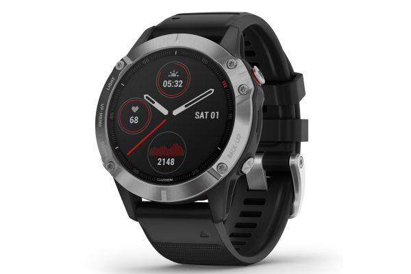 Large image of Garmin Fenix 6 Silver With Black Band GPS Multisport Smartwatch - 010-02158-00