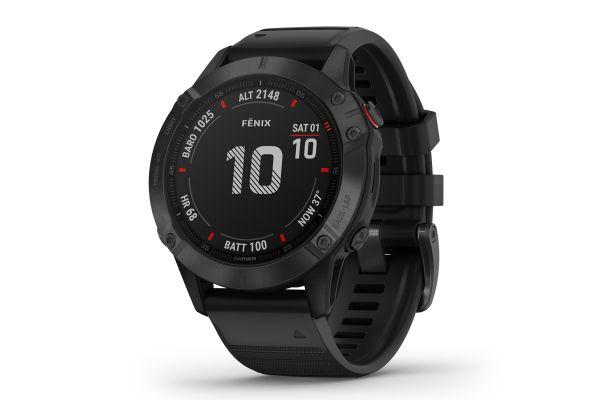 Large image of Garmin Fenix 6 Pro Black With Black Band GPS Multisport Smartwatch - 010-02158-01