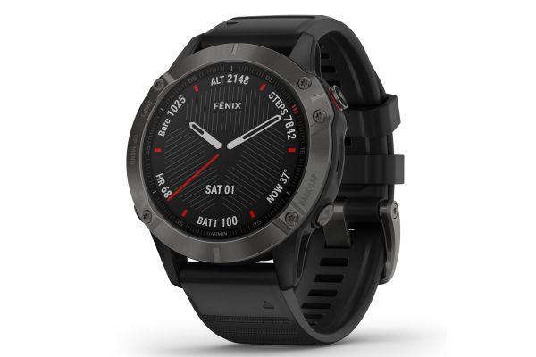 Large image of Garmin Fenix 6 Sapphire Carbon Gray DLC With Black Band GPS Multisport Smartwatch - 010-02158-10